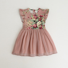 Фотография New Baby Girls Floral Mesh Ball Sleeveless Dresses, Princess Kids Spring Dazzle Bow Cute Dress Retail & Wholesale