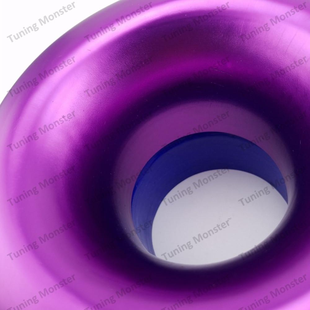 "4/"" Purple Short Ram Cold Air Intake Turbo Horn Aluminum Velocity Stack Adapter"