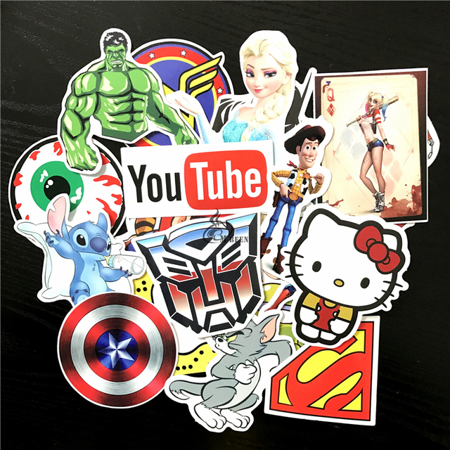50pcs/lot ripndip emoji tiger Youtube pepe stitch hulk mishhka car sticker American animation skull waterproof skateboard decal