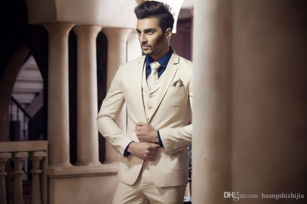 Latest Coat Pant Designs Beige Champagne font b Men b font font b Suit b font