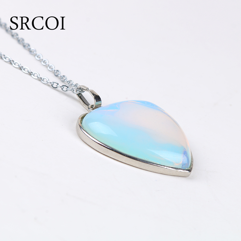 SRCOI New Opal Jewelry Heart Necklace Natural Crystal Stone Necklace