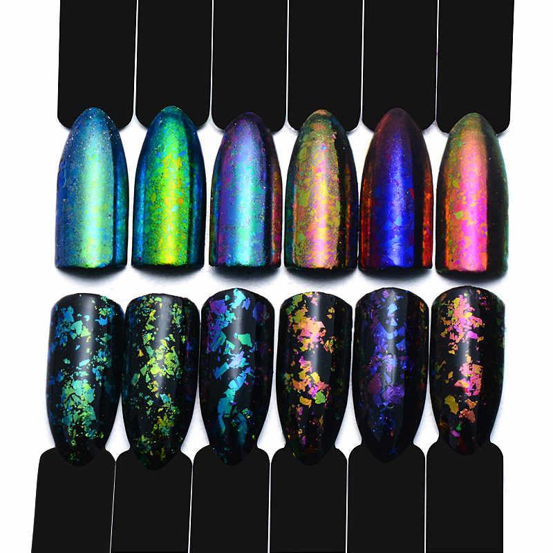 0,2g copos de aluminio lentejuelas uñas brillo polvo Irregular espejo cromado pigmento Paillette papel manicura decoración de uñas