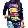 Vogue Hamburgers do impressão com capuz preto camisola de manga comprida