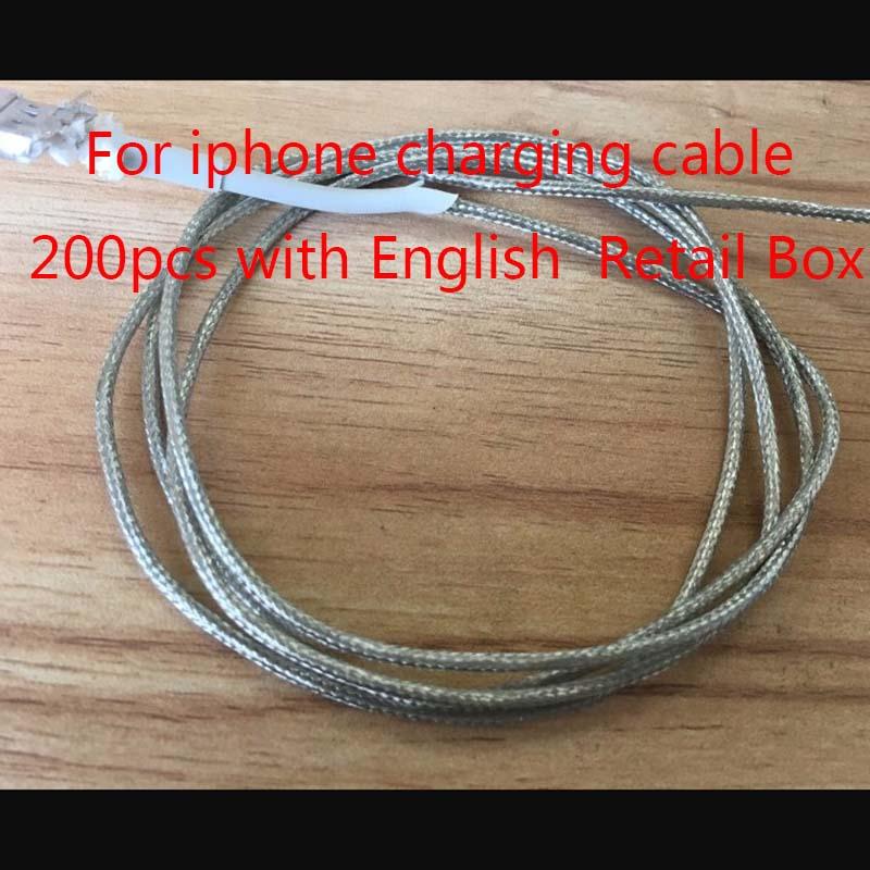imágenes para 200 unids Alta Calidad 1 m 2 m USB Data sync Cable de Carga para el ipad de Aire para el iphone 5 5S 6 7 Plus para IOS 10.3 Con Inglés Retail caja