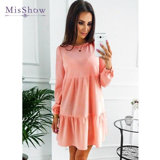 84128b676eb1 MisShow Automne Femmes Casual Chic Mini Robes Parti Manches Longues Robes  Droites Courtes En Coton Robes