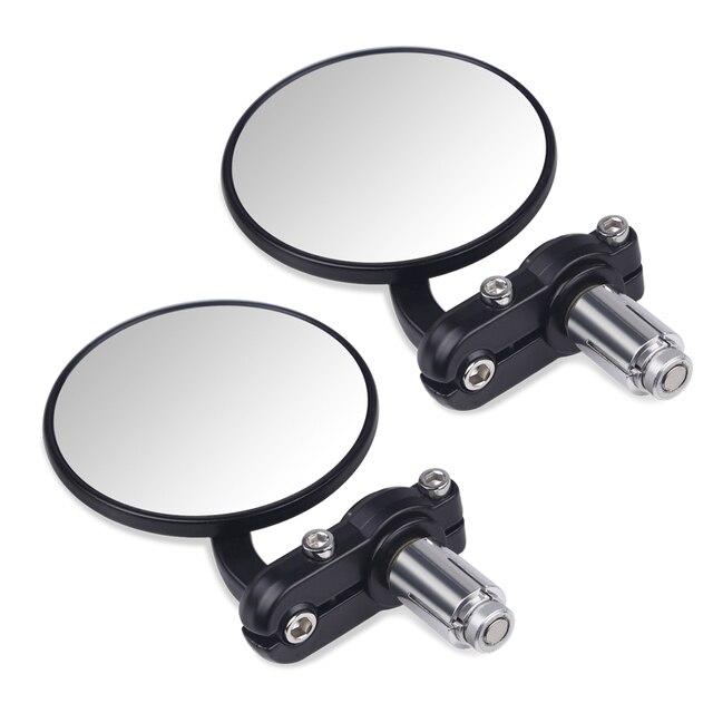 """2 sztuk tył motocykla lustro kierownica motocykla koniec lustro 22mm dla cafe racer czarna rękojeść 7/8 """"lusterka dla motocykla"""