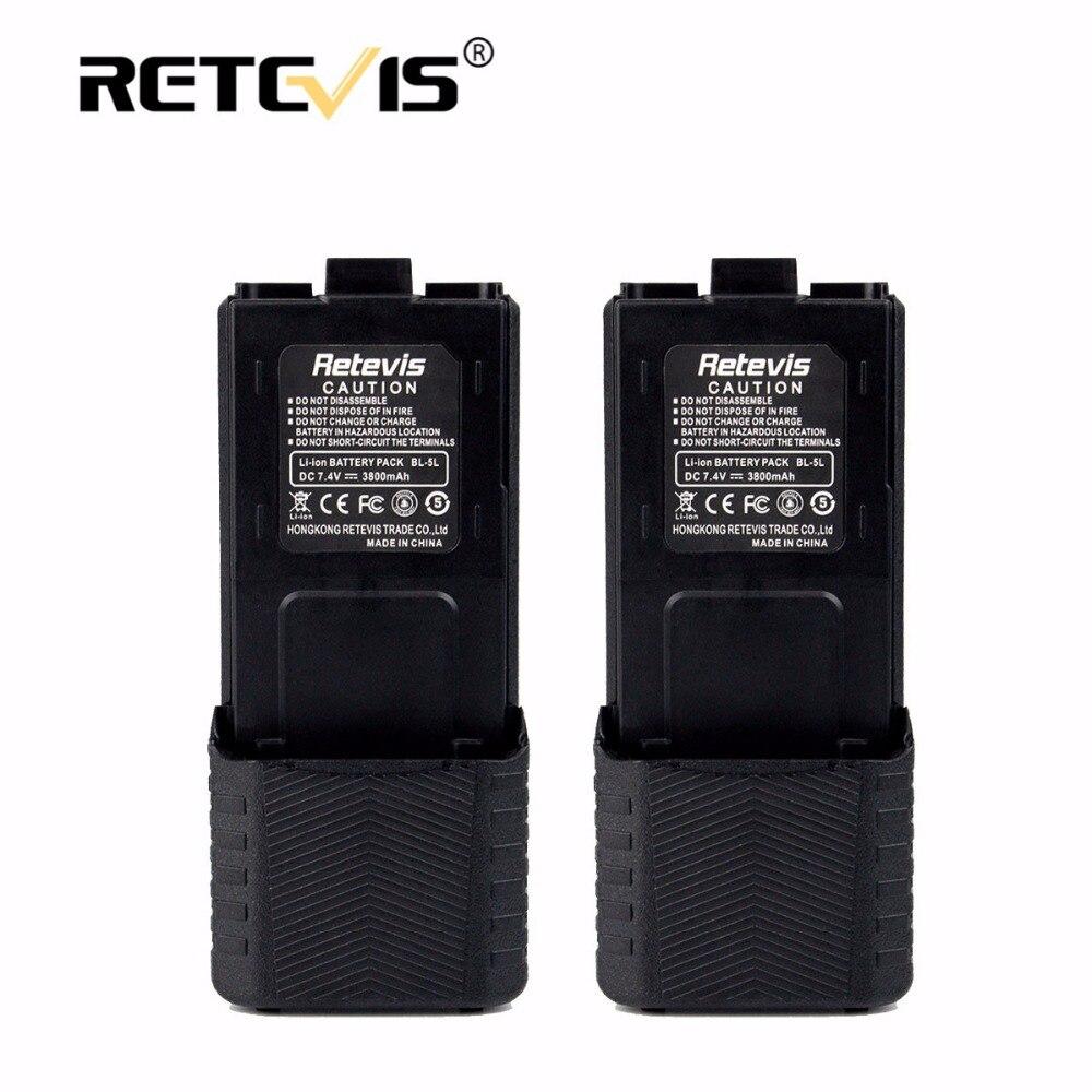 2pcs Large Capacity 2800mAh Li ion Battery BL 5L For Baofeng Battery UV 5R UV5RB UV5RE