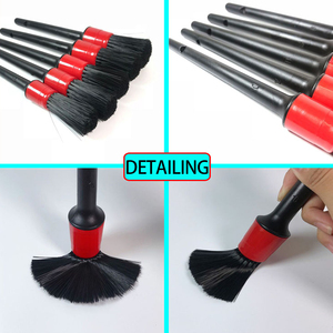 Image 3 - 5 Pcs Auto Detailing Cleaning Tool Natural Boar Borstels Voor Auto interieur Kloof Velgen Dashboard Wiel Air Vent Trim