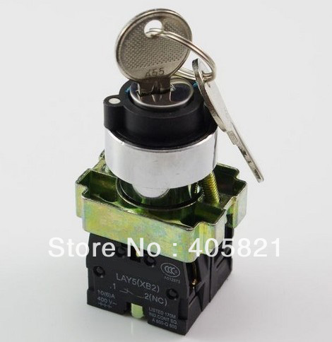 1N/O+1N/C 2 Position Spring Return Key Select Selector Switch XB2BG65C Mouting Hole 22mm