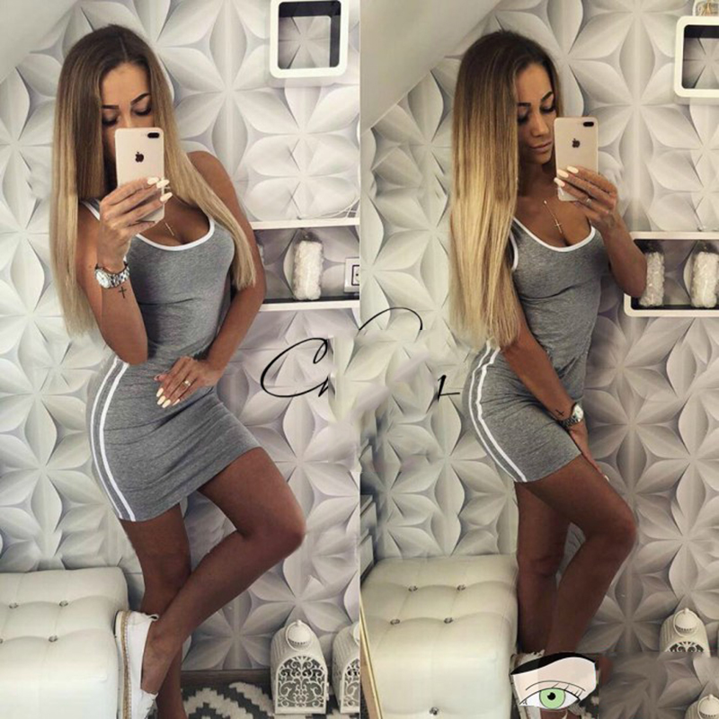 2018 Stylish Women Solid Sexy Bodycon Dress Nightclub Black Red O-neck Sleeveless Lady Party Sheath Mini Bandage Dresses