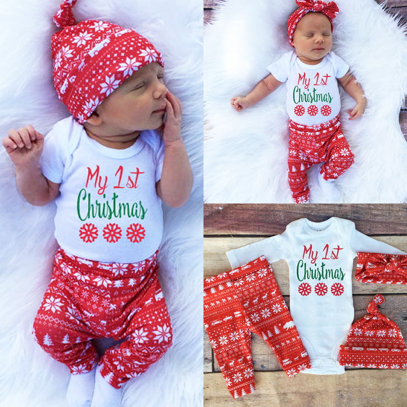 aliexpresscom buy 3pcs my first christmas newborn baby clothes set boys girls clothes romper pants hat warm outfit gift from reliable newborn baby