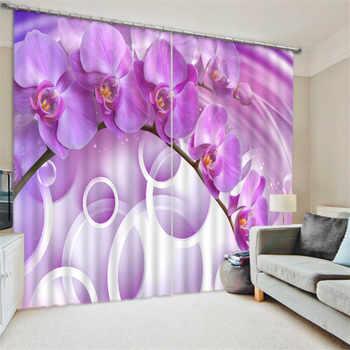 ดอกไม้ผีเสื้อกล้วยไม้พิมพ์ดิจิตอล3Dม่านผ้าสำหรับห้องนั่งเล่นห้องนอนม่านCotinasพาราศาลา