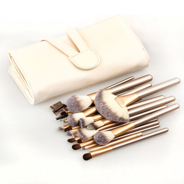 Professional Soft 12/18/24pcs Makeup Brushes Set Cosmetic Make Up Tools Foundation Eyeshadow Blush Kits + PU Leather Bag Case