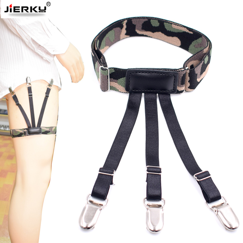Man's Leg Suspenders Camouflage Shirt Stays Holder Gourd Buckle Shirt Braces Uniform Strap Shirt Garters 100pairs/lot DHL Free