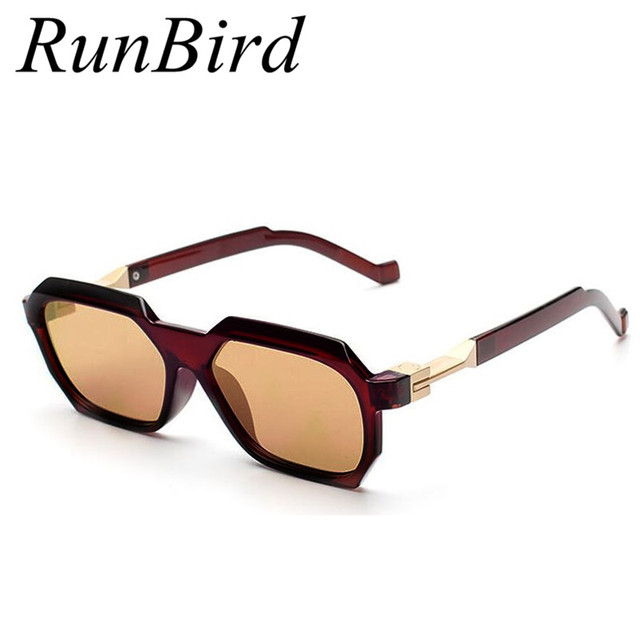 RunBird Haute Qualité Rectangle Lunettes de Soleil Homme Marque Designer  Hommes Revêtement Lunettes de Soleil Mode 98cc356e1f23
