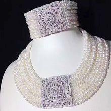 10 рядов пресноводного жемчуга около круглой 3-5 мм Ожерелье Браслет 17-19 дюймов бисера скидка подарок Горячая Распродажа