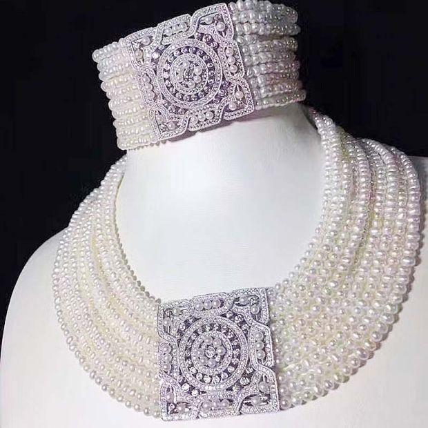 10 righe d'acqua dolce della perla dintorni di round 3-5mm del braccialetto della collana 17-19 pollice del branello del commercio all'ingrosso di sconto regalo hot