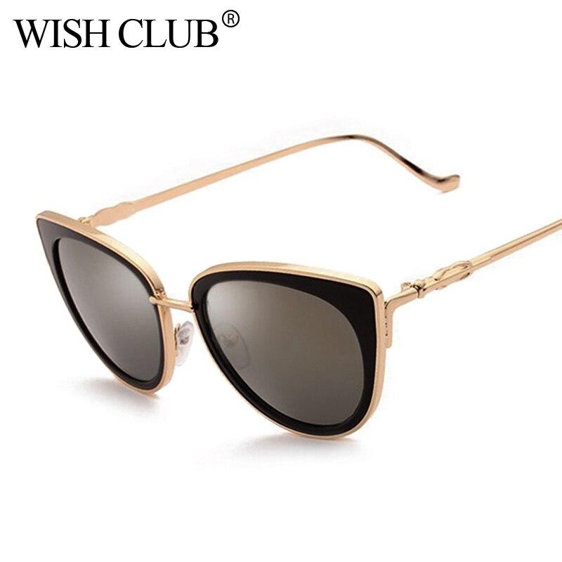 WÜNSCHEN CLUB 2018 Neue Modemarke Designer Sonnenbrille Frauen Spiegel Sonnenbrille Metall Retro Weibliche Cat Eye Damen Vintage Brillen