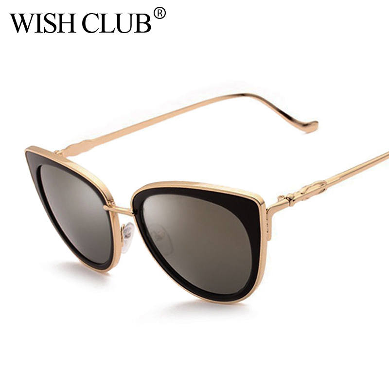 WISH CLUB 2018 New Fashion Brand Designer Sunglasses Women Mirror Sun Glasses Metal Retro Female Cat Eye Ladies Vintage Eyewear