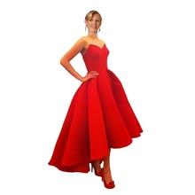 Vestidos Neue Puffy Satin Red High Low Myriam Fares Party Abendkleider Heißer 2016 NEUE Wunderschönen Kleid