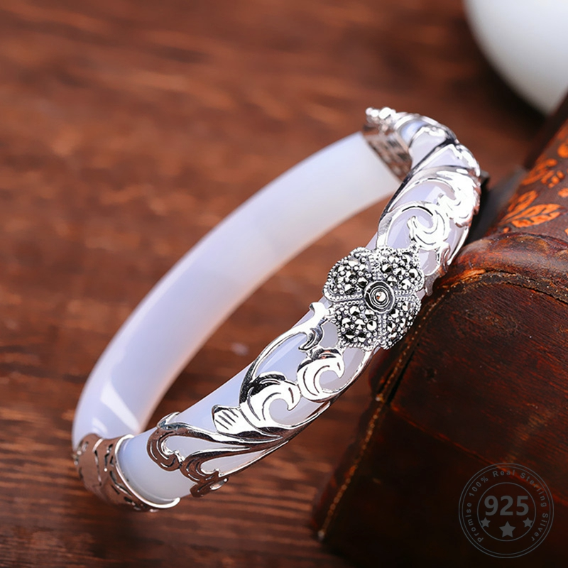 LouLeur 925 Sterling Silver Jade Bangles White Handmade Natural Jade Bangles Fashion Jewelry Women Flower Bracelet Thai Silver