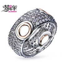 DREAMCARNIVAL 1989 Designer Pierced Rings For Women Rhodium With Rose Gold Color Windows CZ Paved Ring
