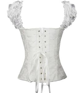Image 4 - Puff Ruffle Renaissance Sleeves overbust Corset Strapless Jacquard wedding clothing Waist Trainer Bustier Plus Size S 2XL