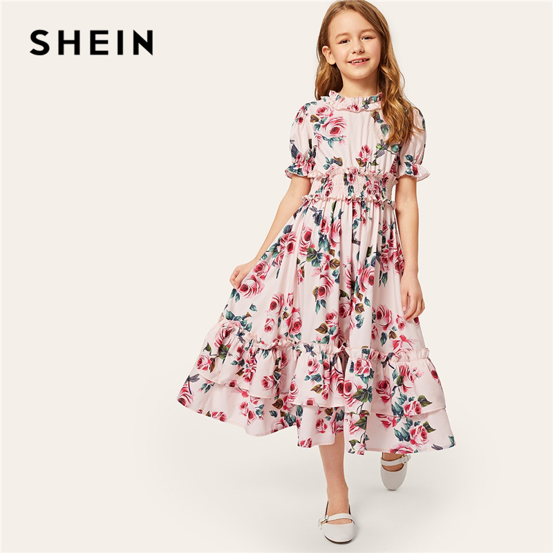 SHEIN Kiddie Pink Floral Print Tiered Layer Shirred Girls Boho Dress 2019 Summer Holiday Puff Sleeve Ruffle Cute Midi Dresses