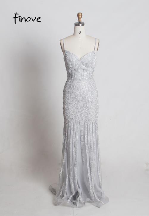 Finove/Вечерние платья цвета шампанского, элегантные сексуальные вечерние платья без рукавов с v-образным вырезом, украшенные кристаллами и бисером, длинные платья для выпускного вечера для женщин - Цвет: Gray and Silver