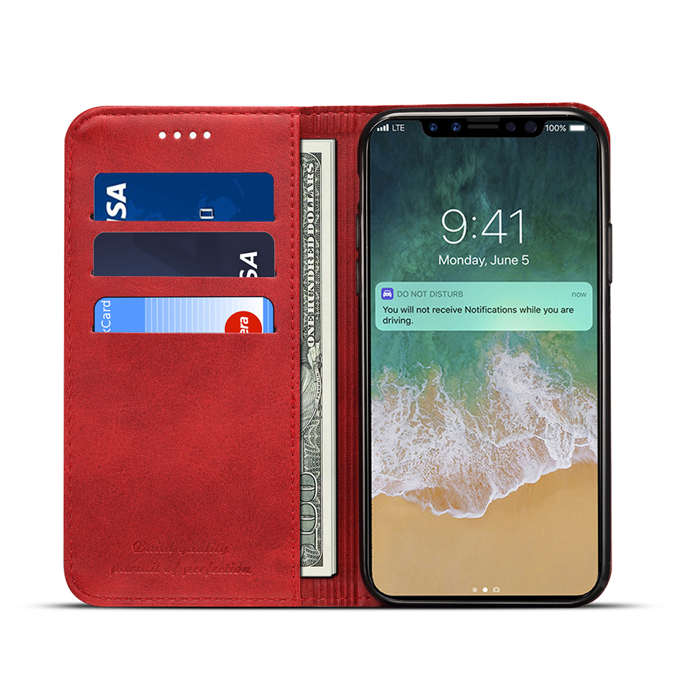 !ACCEZZ Luxury Leather Phone Case Card Pocket Full Protective Cover For iphone X XS MAX XR Wallet Flip Cases Shell Stand Holder (10)