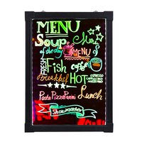 16X24 Inch Easy To Write On Flashing Luminated Fluorescent Sign Board Set Cafe Coffee Menu Styling Neon LED Decoration Board