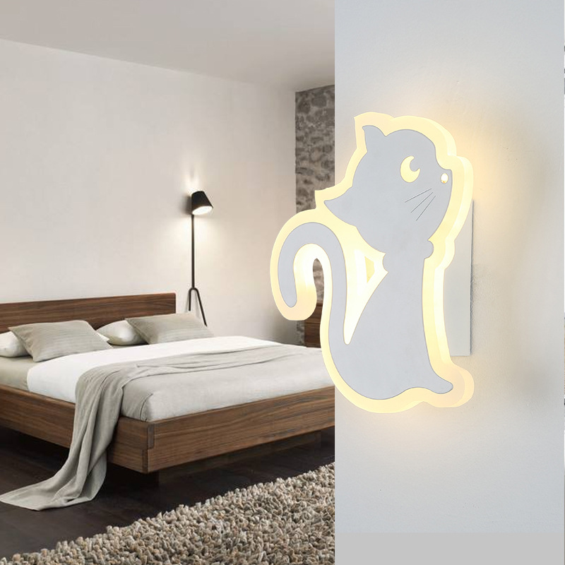 Simple Modern Bedroom Bedside LED Wall Lamp Creative Aisle Lamp Children Room Cat Acrylic Lamp Cafe Light Free Shipping modern minimalist 9w led acrylic circular wall lights white living room bedroom bedside aisle creative ceiling lamp
