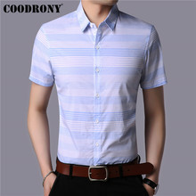 COODRONY 100% Cotton Short Sleeve Men Shirt Summer Cool Fashion Striped Business Casual Shirts Camisa Masculina S96020