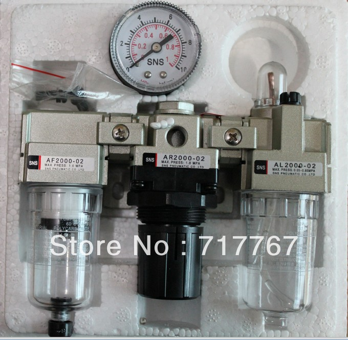 1/4''  AC2000-02 3 in 1 Filter Regulator Lubricator  SNS PNEMATIC PARTS  SMC ype F.R.L. Unit   AC(AF2000+AR2000+AL2000) epman universal 3 aluminium air filter turbo intake intercooler piping cold pipe ep af1022 af