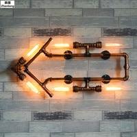 LED Arrow Wroguht Iron Water Pipe Wall Lamp Vintage Aisle Lights Loft Iron Wall Lamp Edison Incandescent Light Bulb 6 Light E27