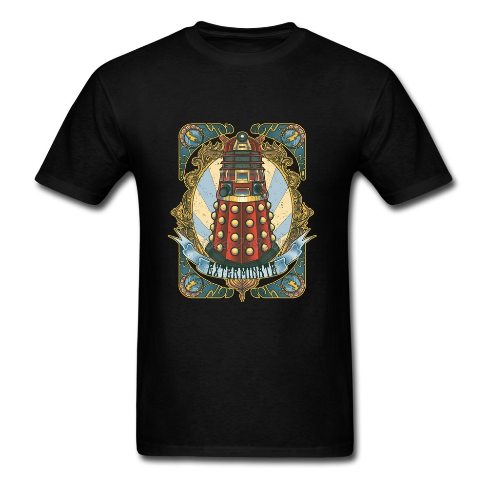 Homem Dalek New-Nouveau Short Sleeve Tee Shirts Round Collar T Shirt Men Cotton Homme Doctor Who DR WHO Exterminate T Shirt