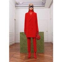 Новая мода двубортный форма Женские офисные костюмы элегантный длинными Длина штаны куртка женская костюмы брюки индивидуальный заказ