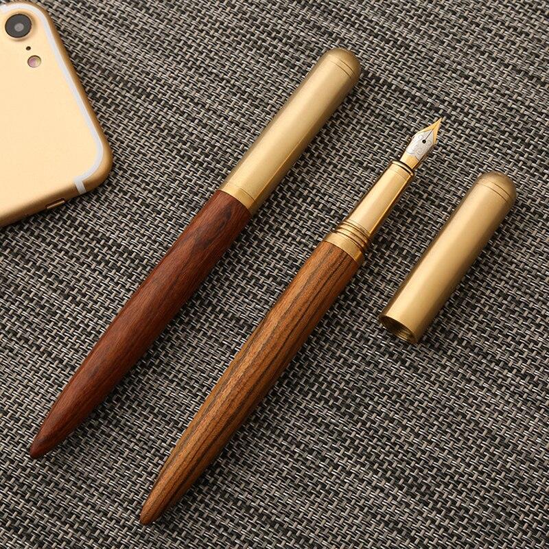 Pluma estilográfica de madera de marca de lujo de 0,7mm pluma de caligrafía fina Escritura de Metal regalos de madera papelería suministros escolares de oficina