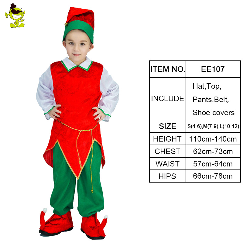 Beautiful Details About Kids Little Elf Costume Boys Christmas Party Lovely Red  Eidolon Role Play Suits