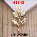 Free Shipping 50PCS Life Tree Leaf shape Gold Tone Metal Alloy DIY Bracelet Necklace Earring Floating Jewelry pendant Charms