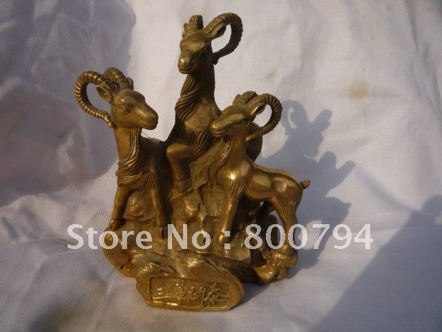 Rare Distinctive Qing Dynasty copper Statue Three sheep ,Free shippingRare Distinctive Qing Dynasty copper Statue Three sheep ,Free shipping