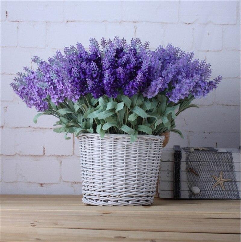 Lavanda 10 Cabeças de Flores Artificiais de Seda pequeno folha de casamento casa Decoração de Natal flores falsificadas 37 cm para deks 2019 hot venda