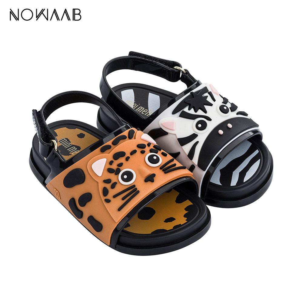 Mini Melissa Beach Slide Sandal Zoo Girl Boy Sandals 2019 New Jelly Sandals Kids Sandals Children Shoes Non-slip Toddler Shoes