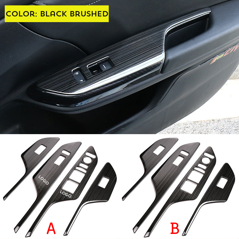 4 Pcs/lot Stainless Steel Style Car Interior Armrest Window Lift Switch Button Cover Trim Bezel For Honda Civic 2016 2017 LHD