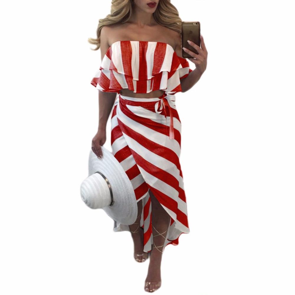 Sedrinuo Cascading Ruffle Striped off Shoulder Sleeveless Beach Wear Two Piece Summer Dress 2018 Casual Bodycon Beach Dresses 2