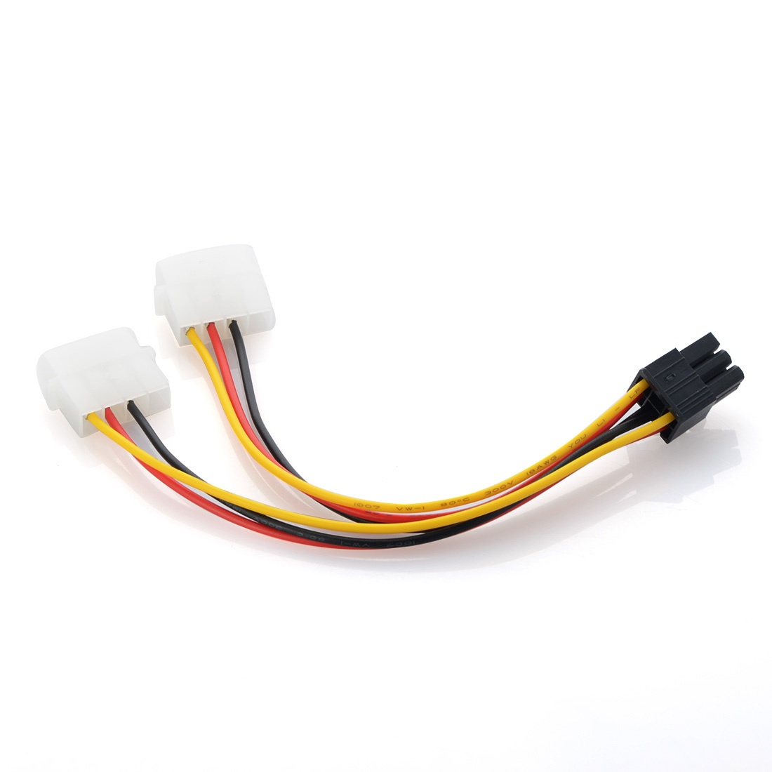 Double Big 4pin to 6pin power adapter cable PCI-E Graphics card External power cord