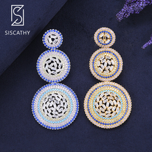 Siscathy Trendy Geometric Three Round Layers CZ Drop Dangle Earrings For Dubai Nigerian Women Bride Wedding Engagement Party
