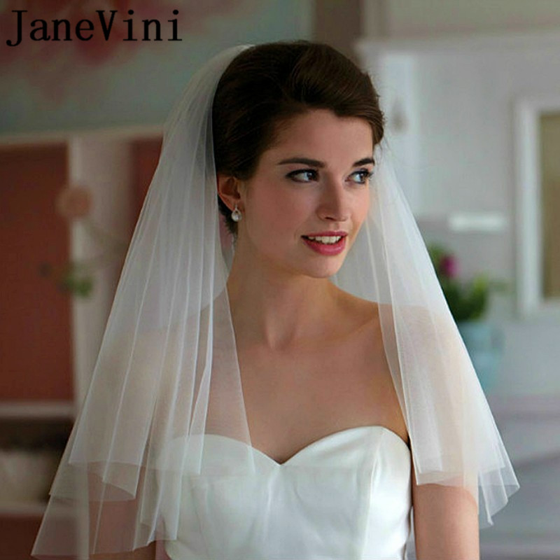 JaneVini Cheap Bridal Veils Ivory White Short 2 Two Layers Bride Wedding Veil with Comb Simple Cut Edge Tulle Veil Accessories