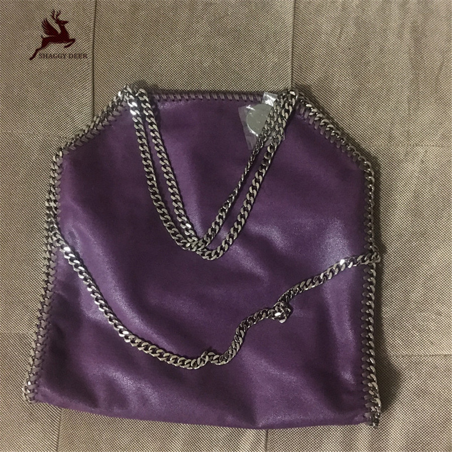 New Shaggy Deer Brand Purple Color PVC 3 Chain Luxury Fold Over Tote Bag Fala Environmentalism Lady Big Tote Shopping Bag mini gray shaggy deer pvc quilted chain bag with cover real picture