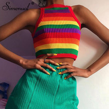 Simenual Rainbow Knitwear Female Halter Top Summer Sleeveless Striped Tank Top Fashion 2019 Casual Slim Women Crop Top Basic New(China)